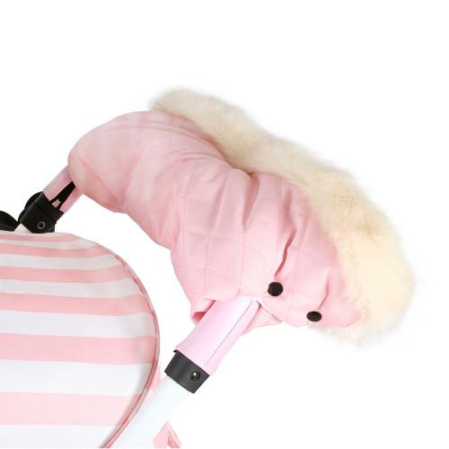 My Babiie Fur Trimmed Pushchair Handmuff - Baby Pink