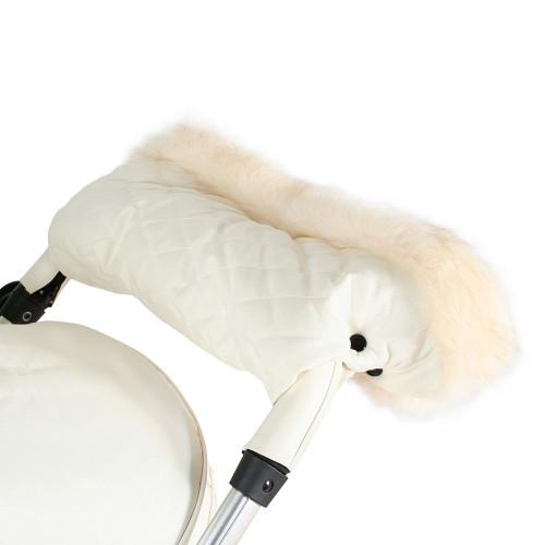 My Babiie Fur Trimmed Pushchair Handmuff - Cream