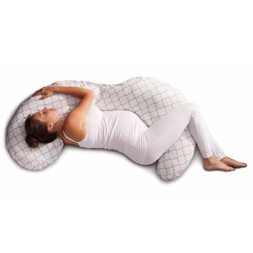 Boppy Total Body Pillow - Glacier (lifestyle lying down)