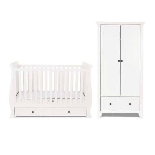 Silver Cross Nostalgia Sleigh Cot Bed & Wardrobe - White