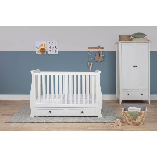 Silver Cross Nostalgia Sleigh Cot Bed & Wardrobe - White