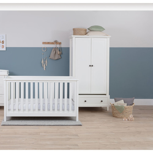 Silver Cross Nostalgia Cot Bed & Wardrobe - White