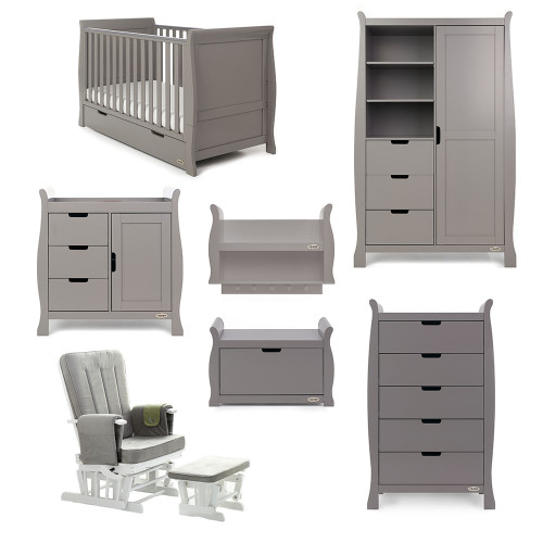 Obaby Stamford Sleigh 7 Piece Room Set - Taupe Grey