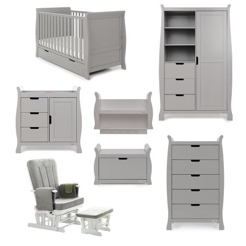 Obaby Stamford Sleigh 7 Piece Room Set - Warm Grey