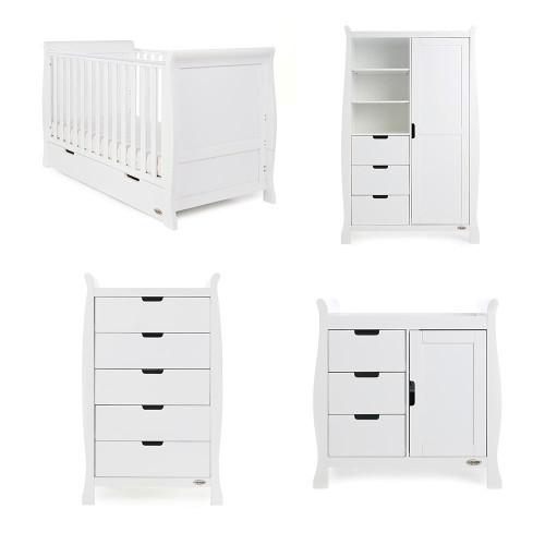 Obaby Stamford Classic Sleigh 4 Piece Room Set - White