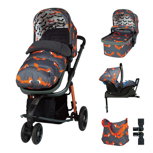 Cosatto Giggle 3 ISOFIX Travel System & Accessories Bundle - Charcoal Mister Fox