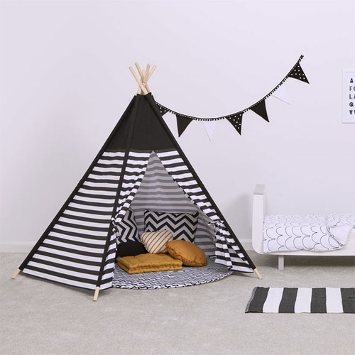 Snuz Kids Teepee Play Tent - Black Stripe