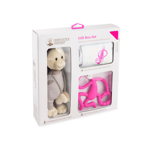 Matchstick Monkey Teething Gift Set - Pink Packaging