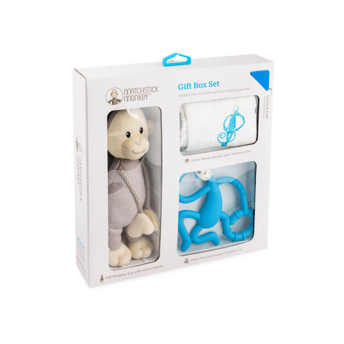 Matchstick Monkey Teething Gift Set - Blue - Packaging
