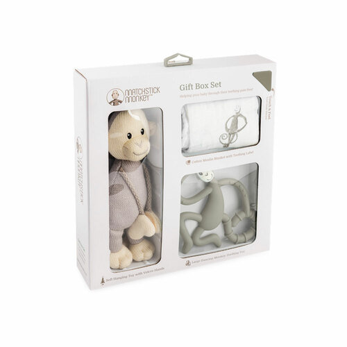 Matchstick Monkey Teething Gift Set - Grey - Packaging