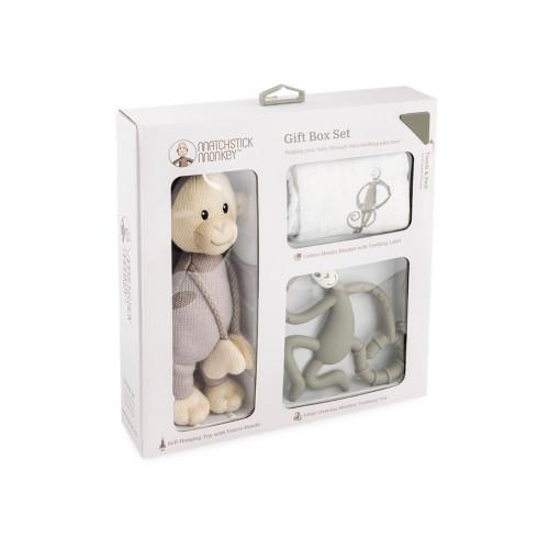 Matchstick Monkey Teething Gift Set - Grey - Packaging