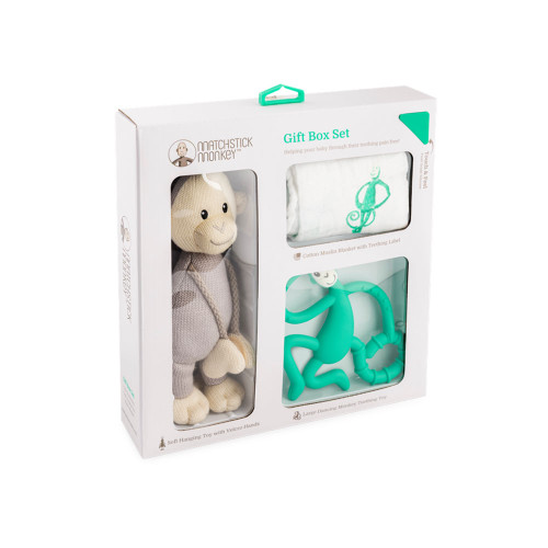 Matchstick Monkey Teething Gift Set - Green - Packaging