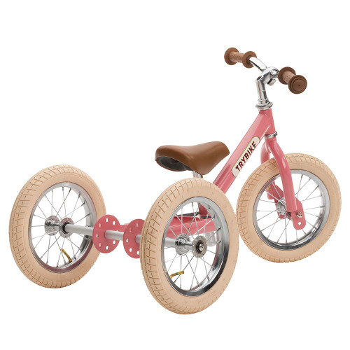 Trybike Steel 2-in-1 Balance Trike - Vintage Pink