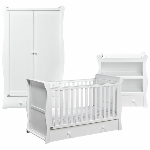 East Coast Nebraska 3 Piece Cot Bed Room Set - White