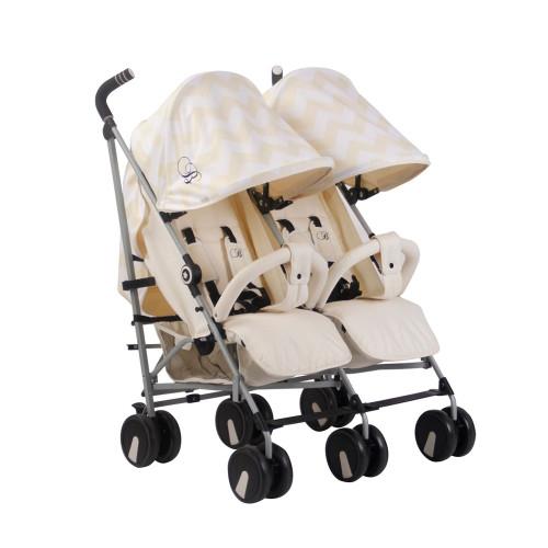 My Babiie MB22 Twin Stroller - Billie Faiers/Cream Chevron