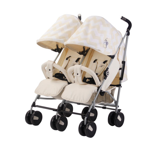 My Babiie MB22 Twin Stroller - Billie Faiers/Cream Chevron