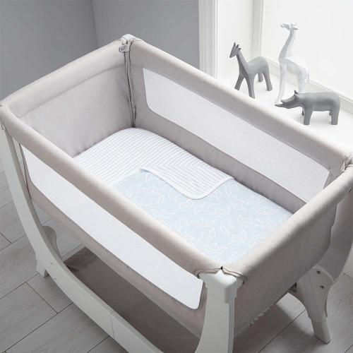 Shnuggle Air Bedside Crib Bedding Set - Blue Boats