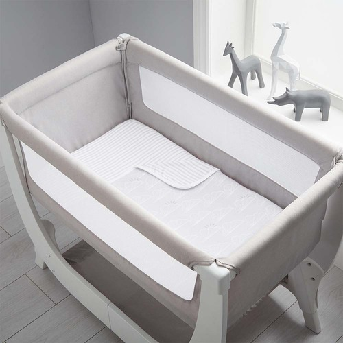 Shnuggle Air Bedside Crib Bedding Set - Grey Clouds