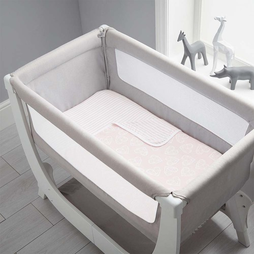 Shnuggle Air Bedside Crib Bedding Set - Blush Hearts