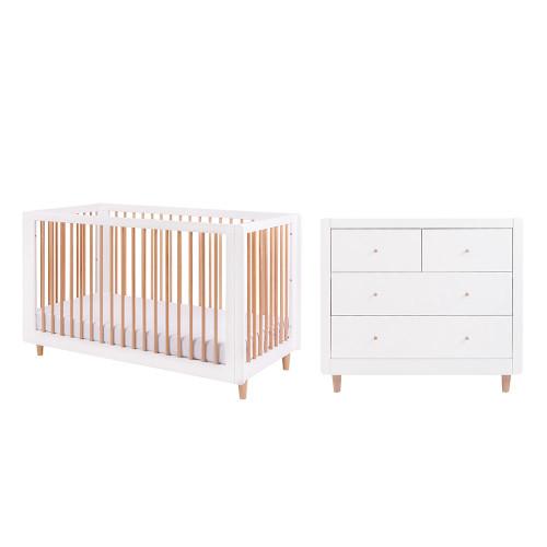 Tutti Bambini Siena 2 Piece Room Set  - White / Beech