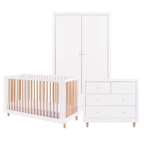 Tutti Bambini Siena 3 Piece Room Set  - White / Beech