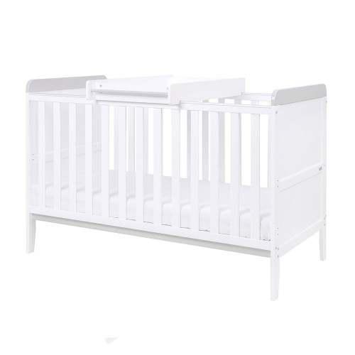 Tutti Bambini Rio Cot Bed with Cot Top Changer & Mattress - White/Dove Grey - set