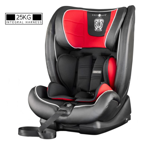 Cozy N Safe Excalibur 1/2/3 Car Seat with 25kg Harness - Black/Red (Black Shell)