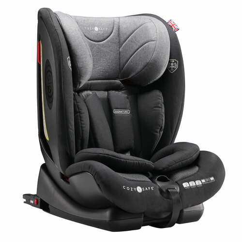 Cozy N Safe Excalibur 1/2/3 Car Seat with 25kg Harness - Black/Grey (Black Shell)