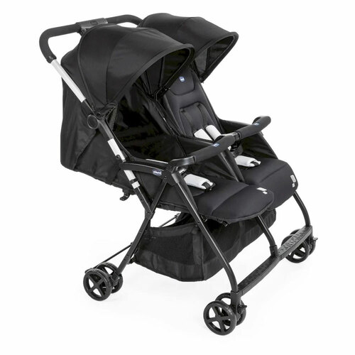 Chicco Ohlala Twin Stroller - Black Night (angle)