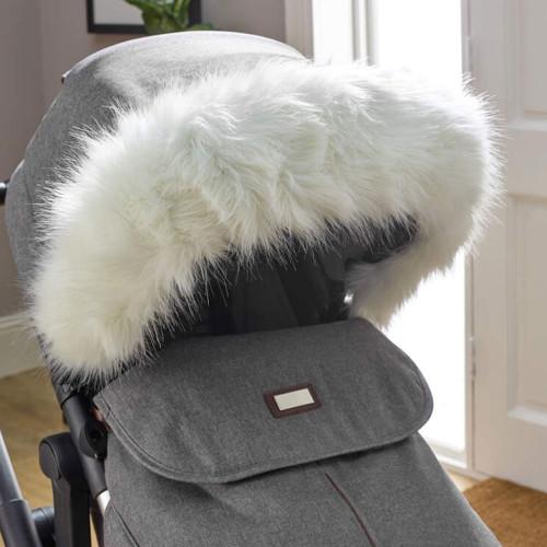 Clair de Lune Universal Deluxe Pram Faux Fur Hood Trim - White