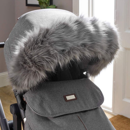 Clair de Lune Universal Deluxe Pram Faux Fur Hood Trim - Grey