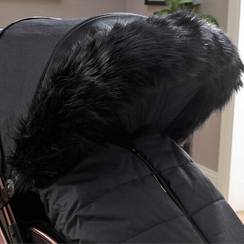 Clair de Lune Universal Deluxe Pram Faux Fur Hood Trim - Black