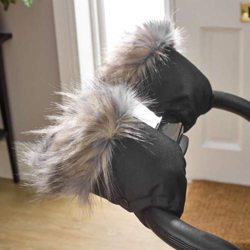 Clair de Lune Universal Stroller Faux Fur Mittens - Two Tone Grey/Brown
