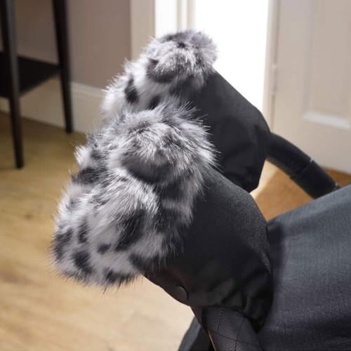 Clair de Lune Universal Stroller Faux Fur Mittens - Grey Leopard