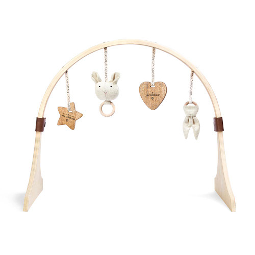 Little Green Sheep Curved Wooden Baby Play Gym & Charms Set - Bunny Love