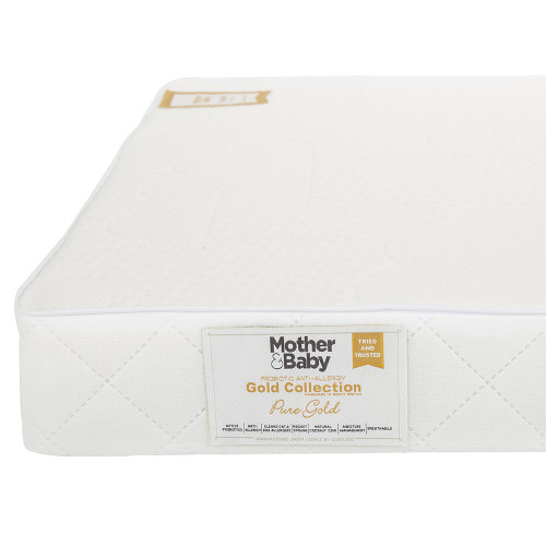Mother&Baby Pure Gold Anti Allergy Coir Pocket Sprung Cot Mattress - White