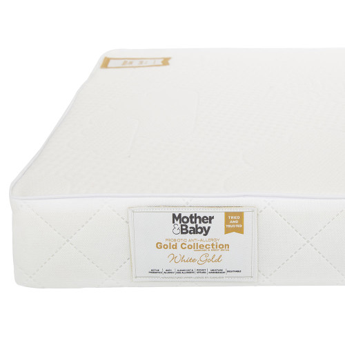 Mother&Baby White Gold Anti Allergy Pocket Sprung Cot Bed Mattress - White