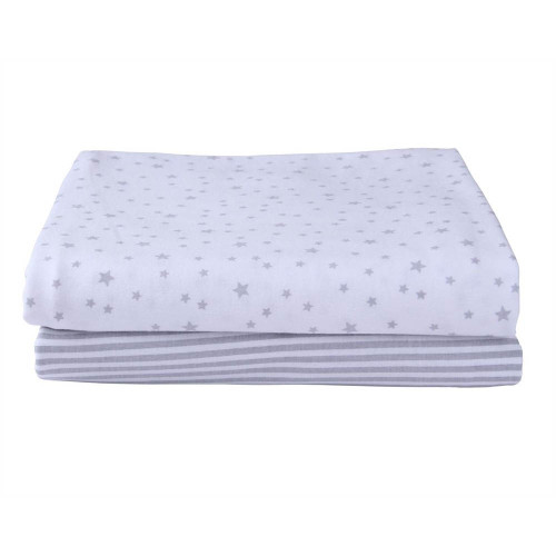 Clair de Lune Stars & Stripes 2 Pack Fitted Cot Bed Sheets - Grey