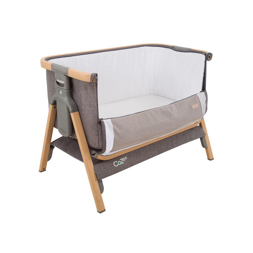 Tutti Bambini CoZee Bedside Crib - Oak and Charcoal (open front)