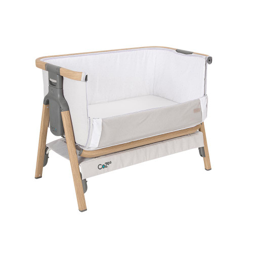 Tutti Bambini CoZee® Bedside Crib - Oak and Silver (open front)