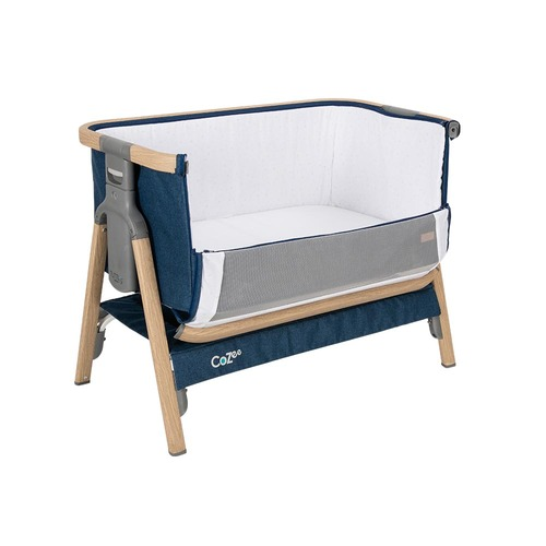 Tutti Bambini CoZee® Bedside Crib - Oak and Midnight Blue (open front)