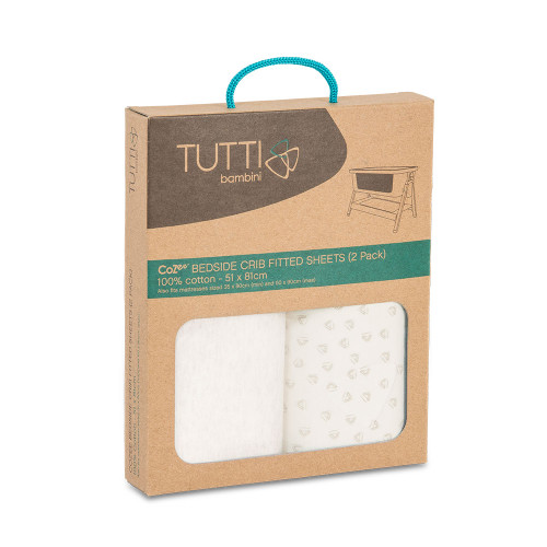 Tutti Bambini CoZee Fitted Sheets (2 Pack) - Neutral/Pebble (box)
