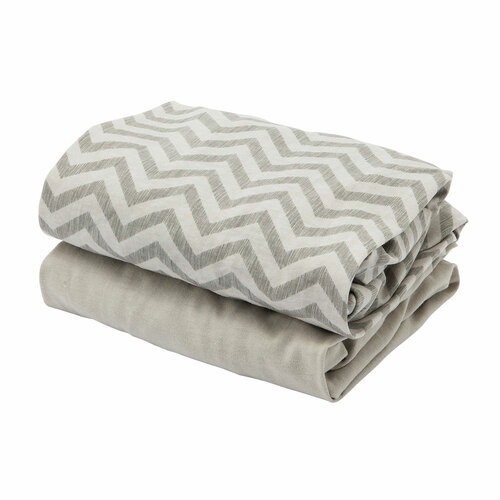 Tutti Bambini CoZee Fitted Sheets (2 Pack) - Chevron/Grey (sheets folded)
