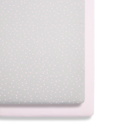 Snuz Crib 2 Pack Fitted Sheets - Rose Spots