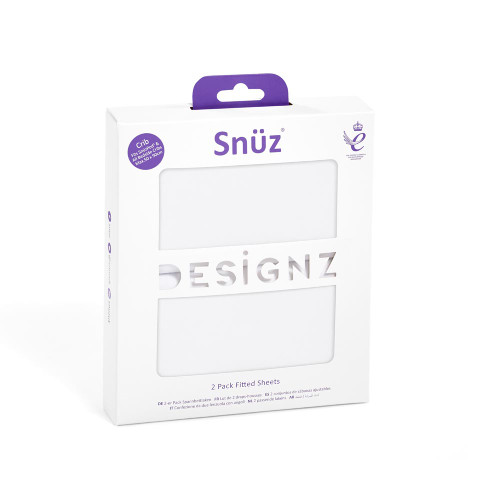 Snuz Crib 2 Pack Fitted Sheets - White