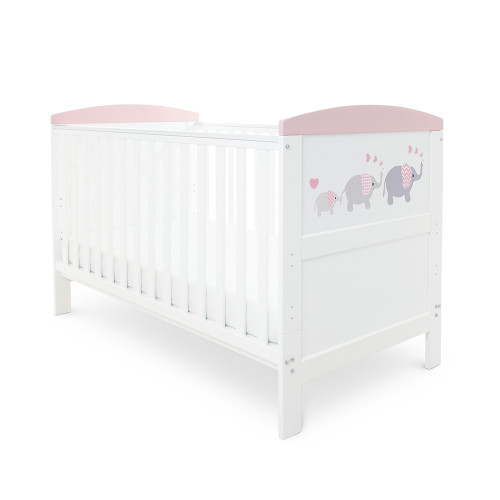 Ickle Bubba Style Cot Bed - Elephant Love Pink