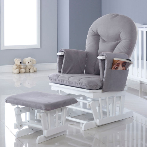 Ickle Bubba Alford Glider Chair and Stool - White/Grey