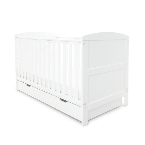 Ickle Bubba Coleby Cot Bed & Under Drawer - White