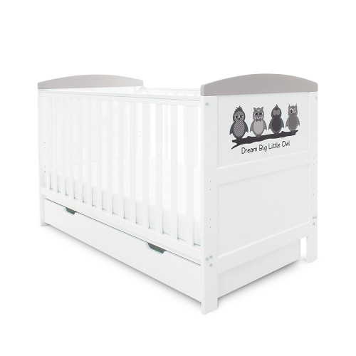 Ickle Bubba Coleby Style Cot Bed & Under Drawer - Dream Big Little Owl