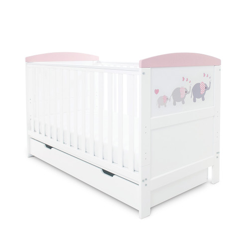 Ickle Bubba Coleby Style Cot Bed & Under Drawer - Elephant Love Pink